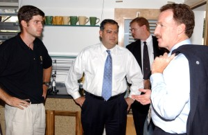 Mike (left) with the Secretary of Energy (center) and Assistant Secretary (right) (Credit: Warren Gretz / NREL)